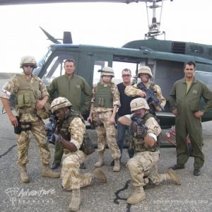 Military Students Posing At Helicopter